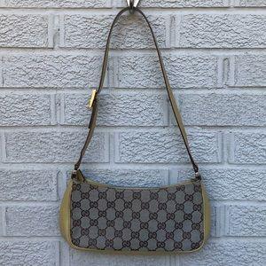 Gucci Canvas Logo & Patent Leather Pochette Bag